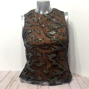 BYRON LARS sequin top brown sz 4 Anthropologie